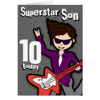 Superstar Son 10th birthday grey red boy card
