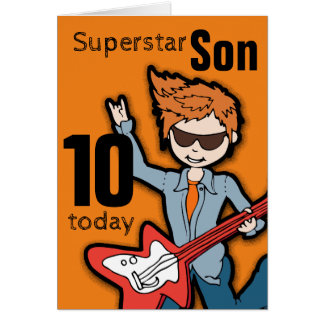 Superstar Son 10th birthday orange boy card