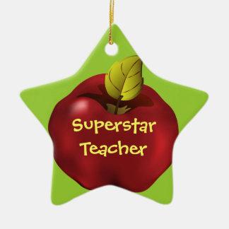 Superstar Teacher Red Apple Christmas Ceramic Star Decoration