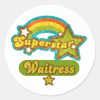 Superstar Waitress Round Sticker