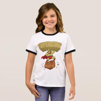 Superstar Yellow Star Superhero on a Rock Ringer T-Shirt