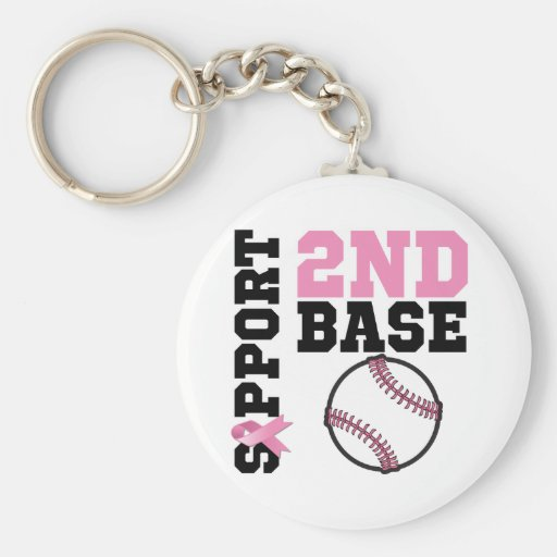 Support 2nd Base Sporty Breast Cancer Key Chain
