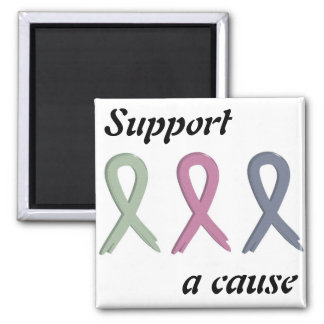 Support a Cause Three Ribbons Breast Cancer Awaren Fridge Magnets