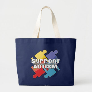 Support Autism Awareness Puzzle Pieces Canvas Bags
