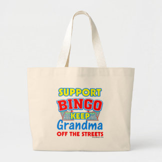 Support Bingo Grandma Large Tote Bag