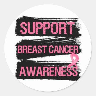Support Breast Cancer Awareness Grunge Round Sticker