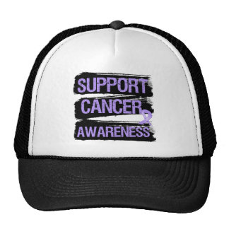 Support Cancer Awareness Grunge Mesh Hats