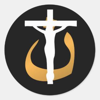 "Support Christians! Crucifix - ""Nuun"" Symbol Classic Round Sticker"