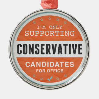 Support Conservatives Silver-Colored Round Decoration