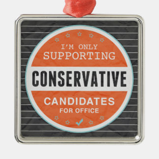 Support Conservatives Silver-Colored Square Decoration