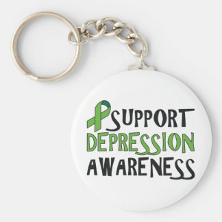 Support Depression Awareness Basic Round Button Key Ring