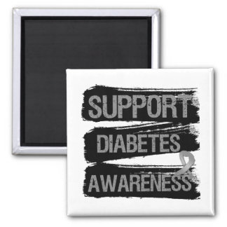 Support Diabetes Awareness Grunge Square Magnet