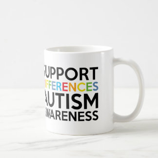 Support Differences Autism Awareness Mugs