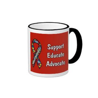 """Support, Educate, Advocate"" Ringer Mug"