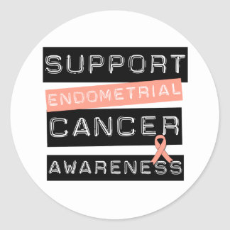Support Endometrial Cancer Awareness Round Stickers