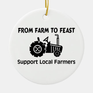 Support Farmers From Farm To Feast Round Ceramic Decoration