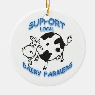 Support Local Dairy Farmers Round Ceramic Decoration