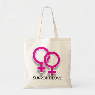 Support Love Female Symbols Lesbian Love Tote Budget Tote Bag
