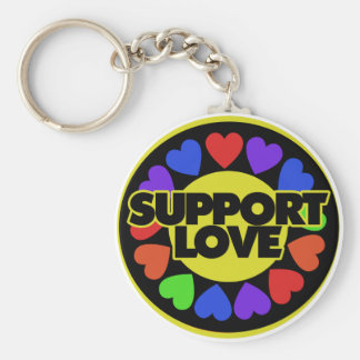 Support Love Basic Round Button Key Ring