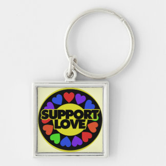 Support Love Silver-Colored Square Key Ring