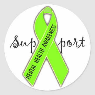Support Mental Health Awareness Bag/DivaLime Round Sticker