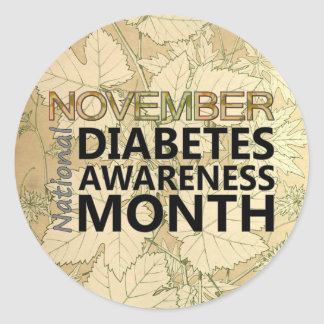Support National Diabetes Awareness Month Leaves Round Sticker