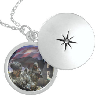 Support of our Troops Round Locket Necklace