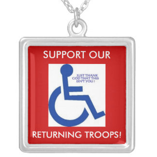 SUPPORT OUR RETURNING TROOPS! SQUARE PENDANT NECKLACE