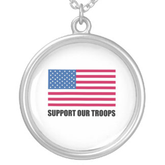 Support our troops (2) round pendant necklace