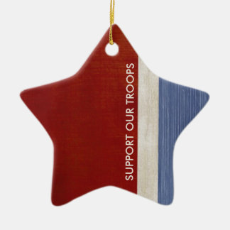 Support Our Troops and Veterans Military Patriotic Christmas Ornament