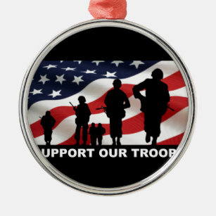 Support our troops army armed forces usa christmas ornament