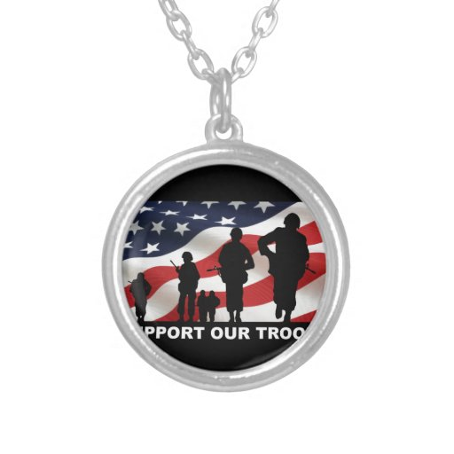 Support our troops army armed forces usa personalized necklace
