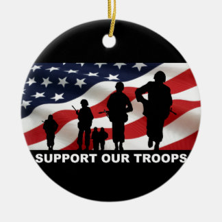Support our troops army armed forces usa round ceramic decoration