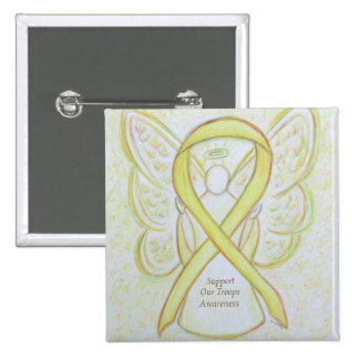 Support Our Troops Awareness Ribbon Angel Pin 2 Inch Square Button