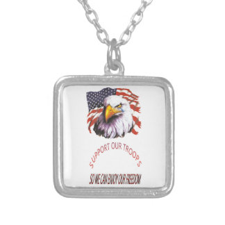 Support Our Troops Bald Eagle With A Tear USA Flag Pendants