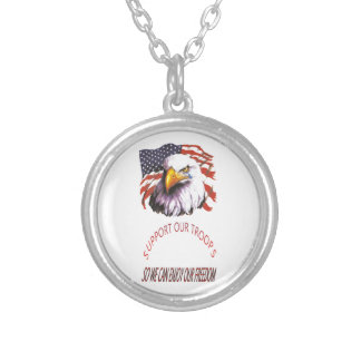 Support Our Troops Bald Eagle With A Tear USA Flag Custom Necklace