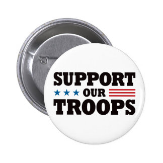 Support Our Troops - Black 6 Cm Round Badge
