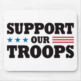 Support Our Troops - Black Mouse Mat