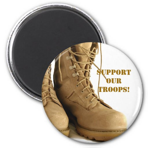 support our troops! button magnet