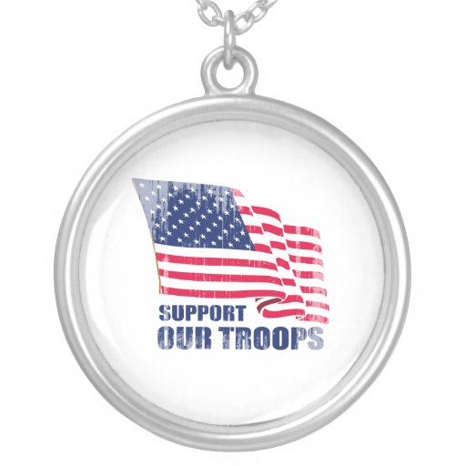 Support our troops Faded.png Necklaces
