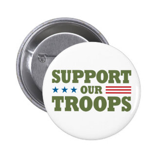 Support Our Troops - Green 6 Cm Round Badge