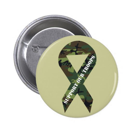 Support Our Troops Green Camo Ribbon Button