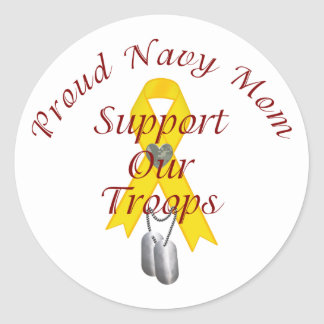 Support Our Troops Navy Mom Yellow Ribbon Stickers