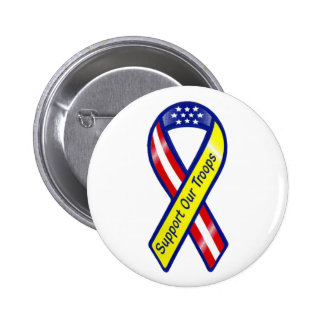 Support Our Troops Ribbon Pinback Button