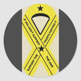 SUPPORT OUR TROOPS RIBBON ROUND STICKER