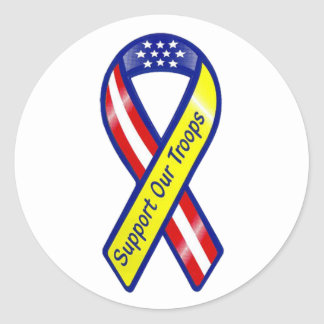 Support Our Troops Ribbon Stickers