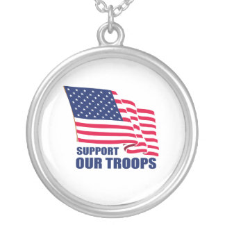 Support our troops round pendant necklace