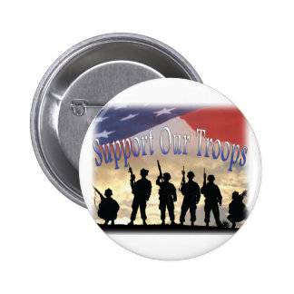 Support Our Troops Soldiers 6 Cm Round Badge