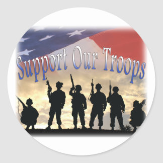 Support Our Troops Soldiers Classic Round Sticker