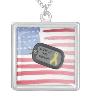 Support Our Troops Square Pendant Necklace